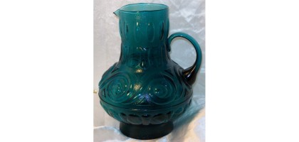 Blue Glass Pitcher bHeisey Glass Company Greek Key pattern 1912-1938